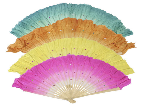 Bamboo Frame Fabric Dancing Fan with Sequins - Pair