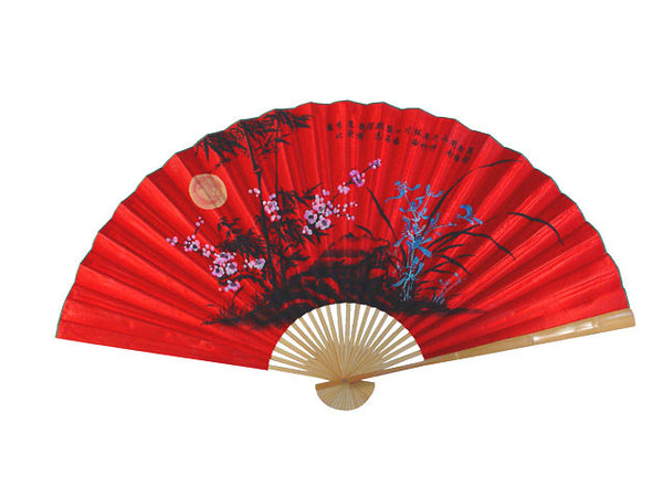 Hand Painted Fabric Wall Fan-Bamboo / Plum Blossom