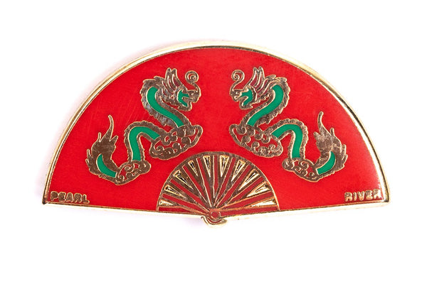 Gorgeous pin of a red fan with green dragons