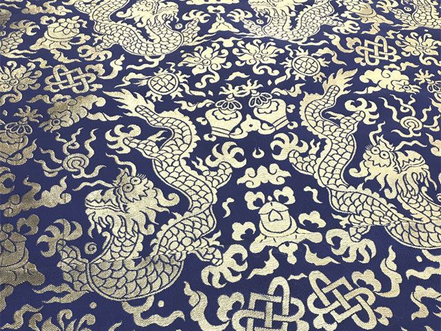 Golden Dragon Brocade Fabric - Navy Blue