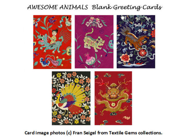 Textile Gems Blank Greeting Cards - Awesome Animals