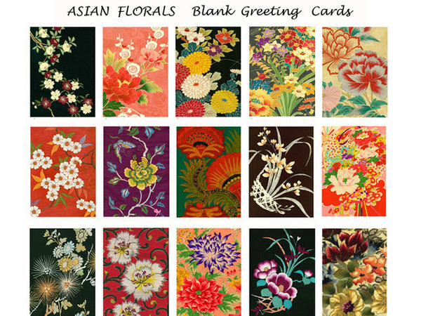 Textile Gems Blank Greeting Cards - Asian Florals
