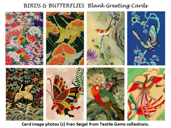 Textile Gems Blank Greeting Cards - Bird & Butterfly
