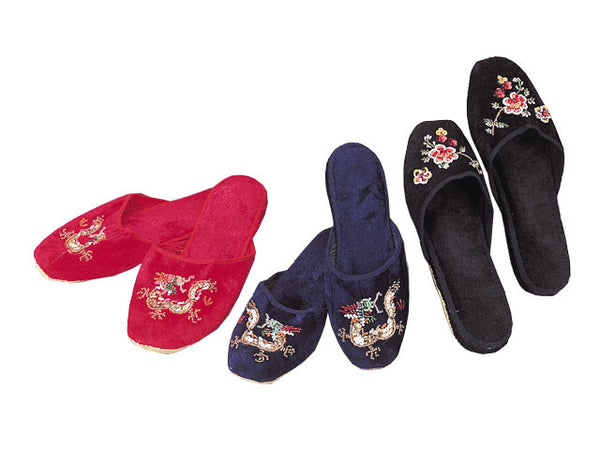 Vintage Asian velvet slippers with gorgeous beaded floral designs
