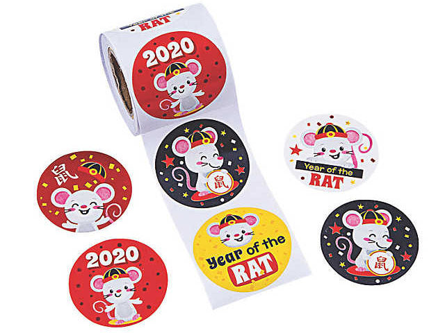 Chinese New Year of the Rat Stickers (100/Roll)