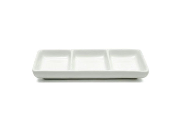 3 Divide Ceramic Sauce Dish - Rectangular