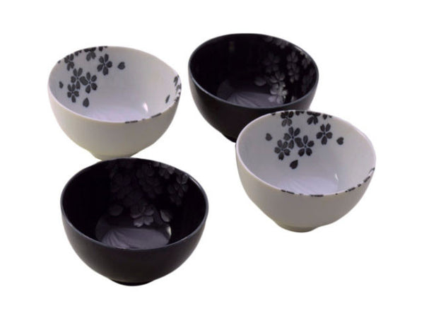 Black & White Flower Design Bowl Set  (4.5 inch)