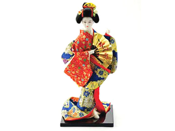 Japanese Lady Holding Gold Fan