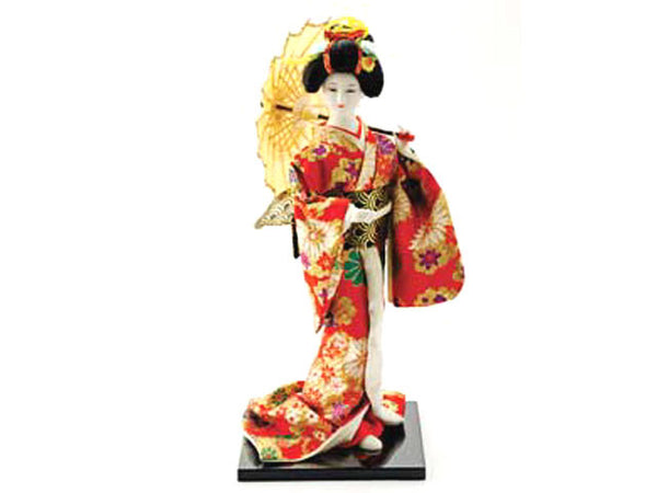 Japanese Lady Holding Yellow Parasol