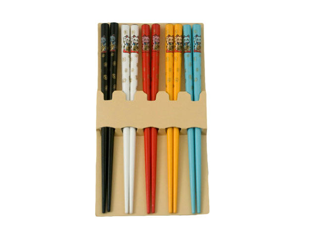 Lucky Cat Design Children Wooden Chopsticks Set - 6.5""