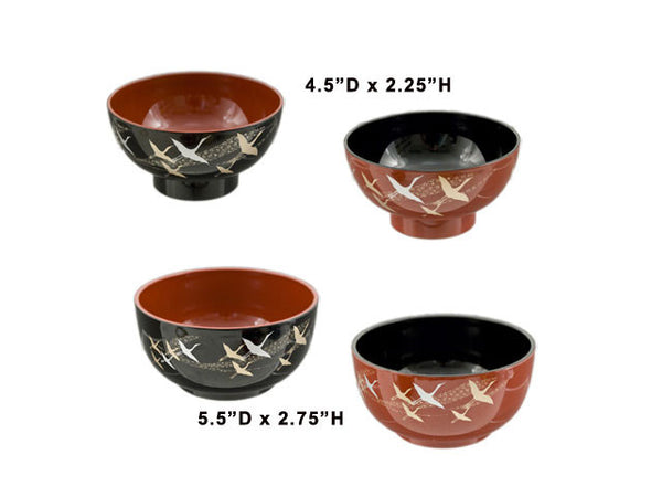 Crane Design Two Tone Lacquer Bowl