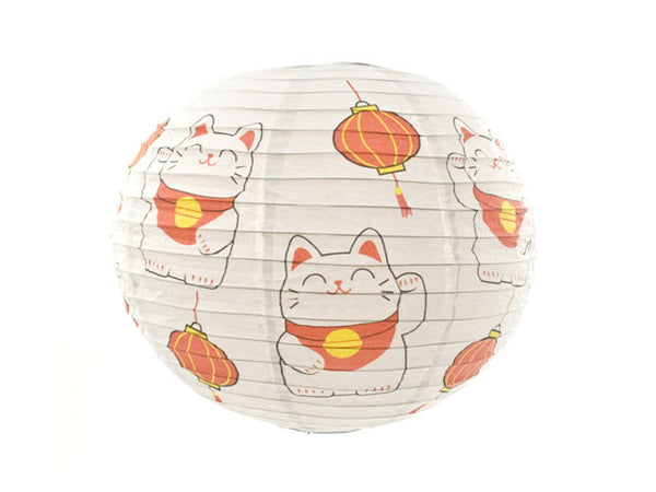 Lucky Cat Print Paper Lantern -16 in.