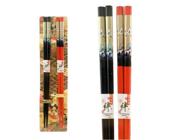 Crane Design Chopstick Set (2 Pairs)