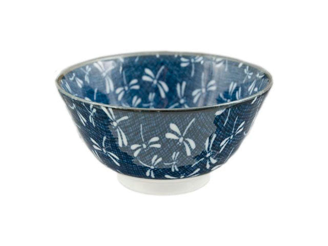 White on Blue / Dragonfly Design Bowl
