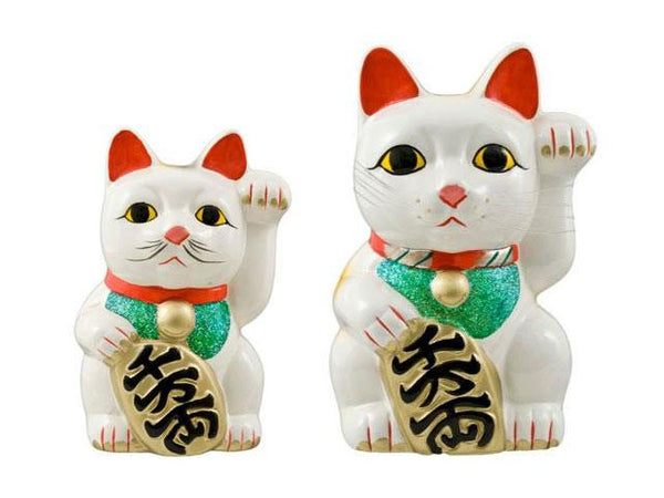 Premium White Lucky Cat (Maneki-Neko Welcoming Cat)
