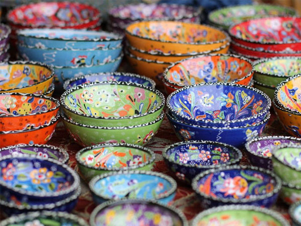 Turkish Motifs Multi Color Ceramic Bowl