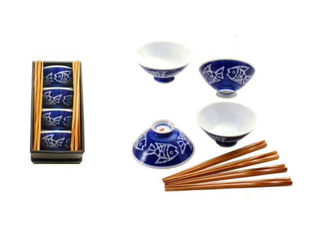 Blue Fish Design Rice Bowl Set (with Chopsticks)