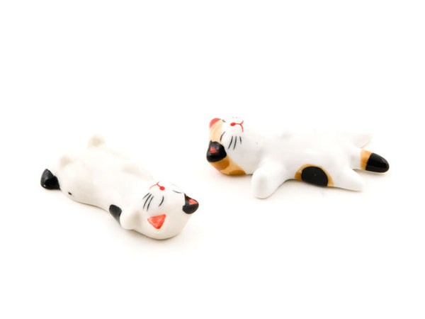 2 White Ceramic Kitty Chopstick Holder belly side up