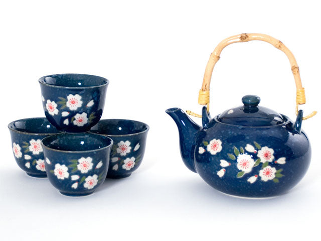 Blue Sakura Design Tea Set