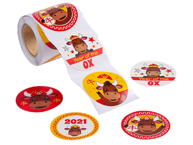 Chinese New Year of the Ox Stickers (100/Roll)