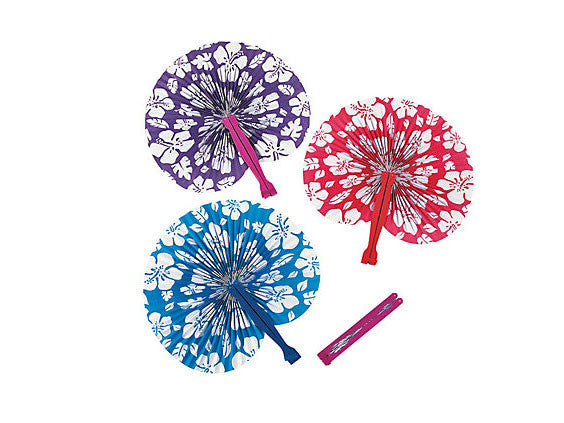 Hibiscus Traveler Folding Paper Fan (Pack of 12)
