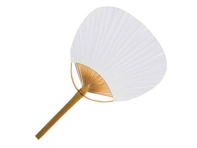 Bamboo Framed White Paper Paddle Fan