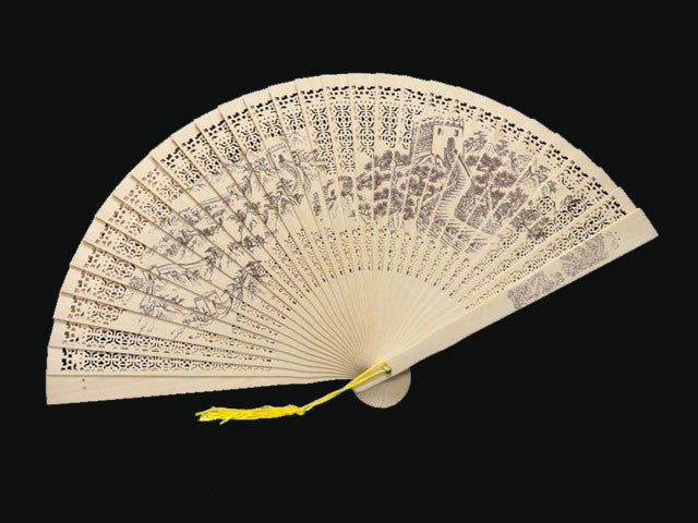 Scented Wooden Fan w. Printed Design