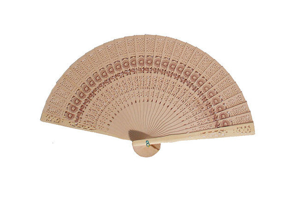 Carved Wooden Fan with Sunflower Print