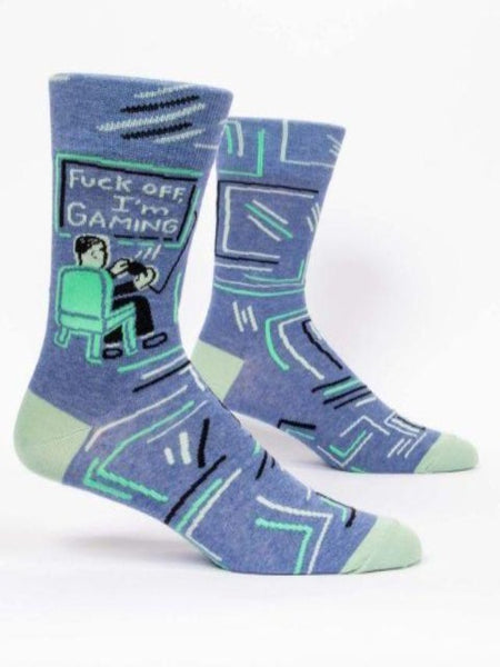 blue socks that say fuck off I'm gaming
