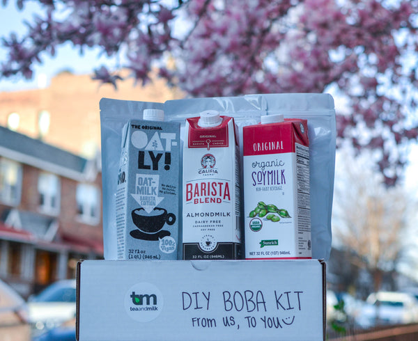 DIY boba tea kit with variety of milks