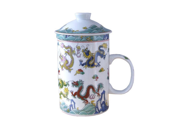 Multi-Colors 9 Dragons Design Mug with Infuser
