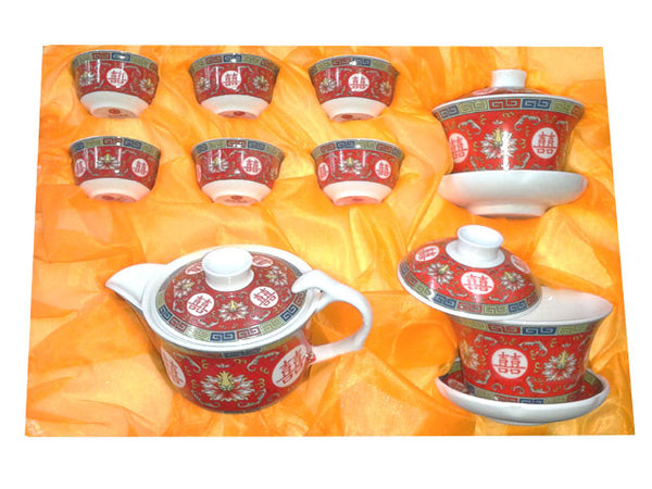 Double Happiness Ceramic Tea Set