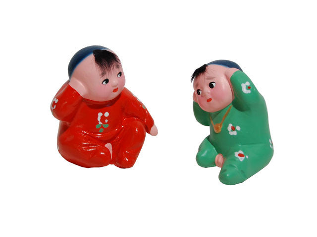 Hand Painted Clay Figurines - Hearing Firecrackers