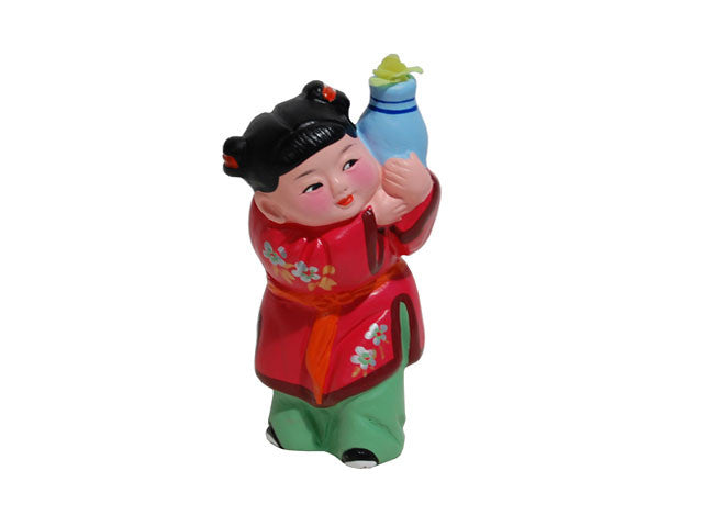 Hand Painted Clay Figurine (C) - Girl Holding Vase