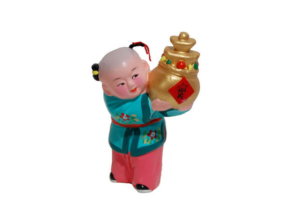 Hand Painted Clay Figurine (D) - Boy Holding Prosperity Gold Jar