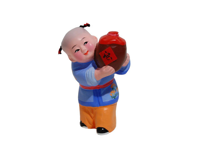 Hand Painted Clay Figurine (E) - Boy Holding Good Life Wine Jug