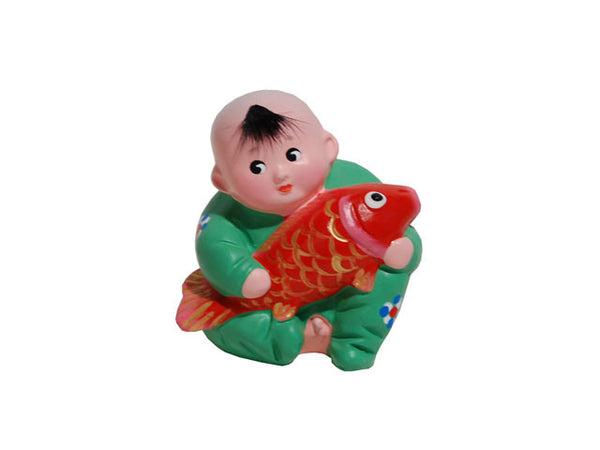 Hand Painted Clay Figurine - Baby Holding Fish