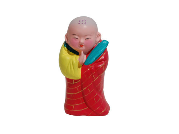Hand Painted Clay Figurine (F) - Little Praying Monk