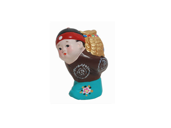 Hand Painted Clay Figurine (K) - Back Packing Pot Of Gold