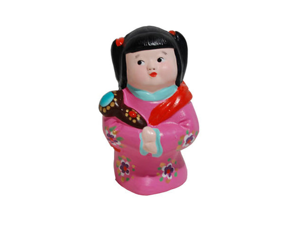 Hand Painted Clay Figurine (M) - Girl with Auspicious Baton