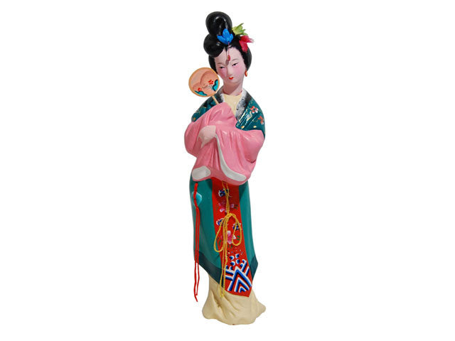 Hand Painted Clay Figurine - Maiden Holding Fan