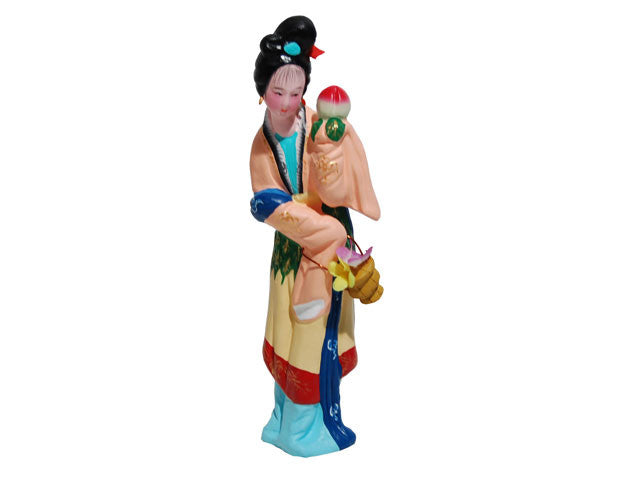 Hand Painted Clay Figurine - Maiden Presenting Peach