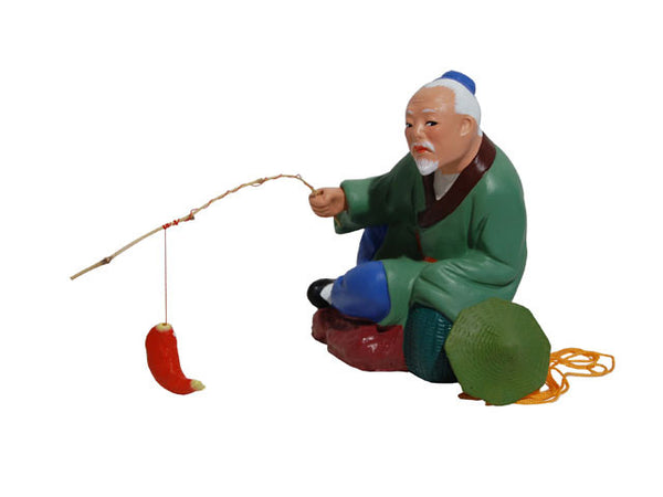 Hand Painted Clay Figurine - Old Fisherman