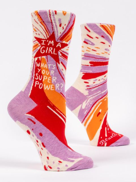Women's Funny Socks: I'm A Girl, What's Your Superpower?