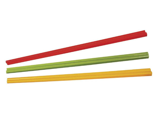 Three pairs of chopsticks in red, green, and yellow