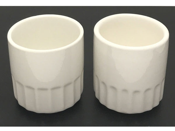 White Ceramic Teacup - Scallop Edge Bottom