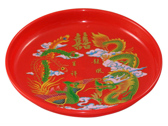 Double Happiness w. Dragon & Phoenix  Plastic Tray