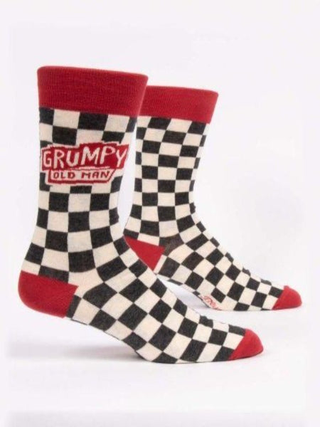 Socks with black and white checkered pattern and words that say grumpy old man