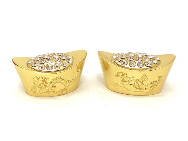 "Dragon Phoenix Golden Ingot with Diamond Stud - (1.75"")"