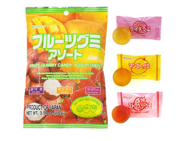 Fruit Candy Gummy Assortment: Lychee, Mango, Strawberry
